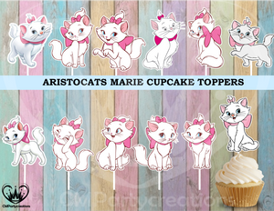 Marie Aristocats Birthday Cupcake Toppers
