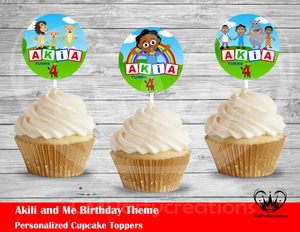 Akili and Me Round Cupcake Toppers
