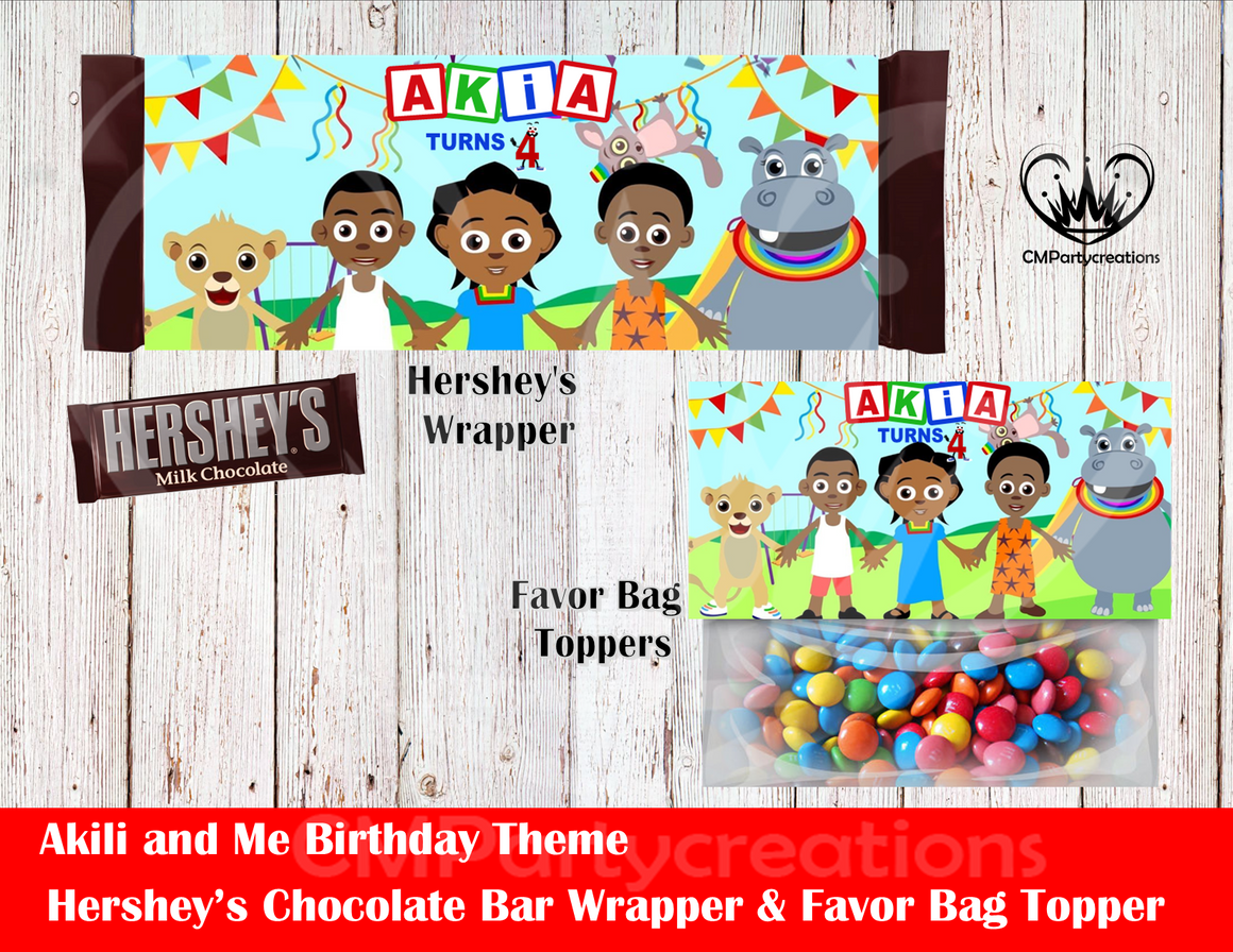 Akili and Me Hershey's Wrapper and Favor Bag Toppers