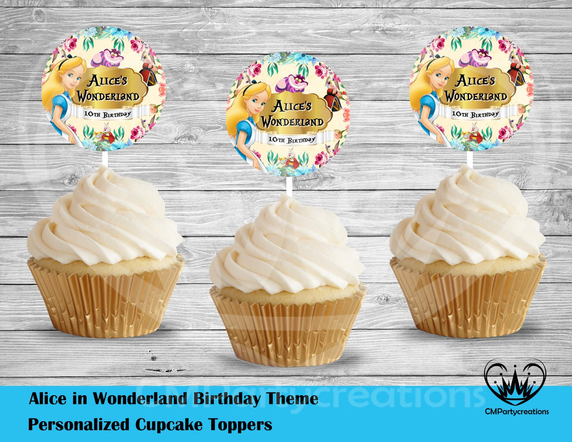 Alice in Wonderland Round Cupcake Toppers