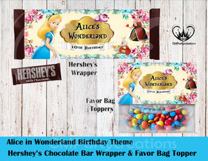 Alice in Wonderland Hershey's Wrapper and Favor Bag Toppers