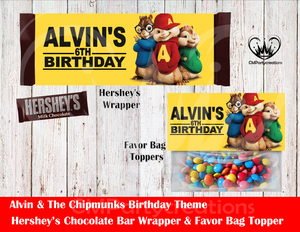 Alvin & The Chipmunks Hershey's Wrapper and Favor Bag Toppers