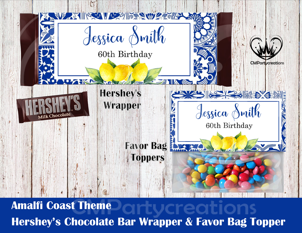 Amalfi Coast Hershey's Wrapper and Favor Bag Toppers