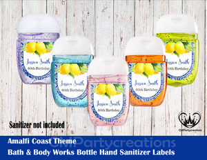 Amalfi Coast Bath & Body Works Hand Sanitizer Sticker Labels