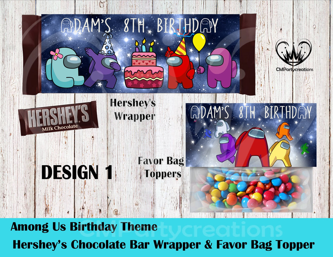 Among Us Hershey's Wrapper and Favor Bag Toppers
