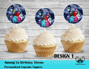 Among Us Round Cupcake Toppers