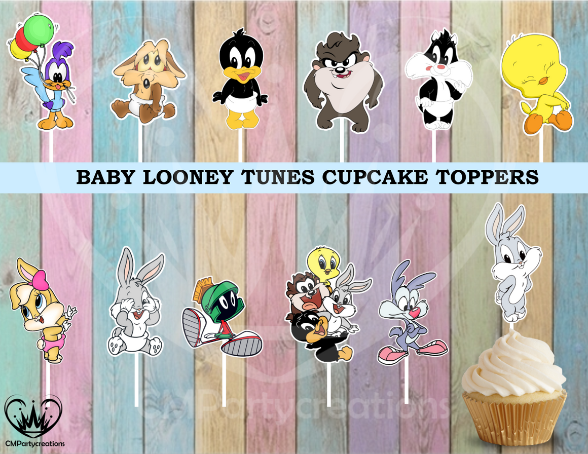 Baby Looney Tunes Birthday  Cupcake Toppers