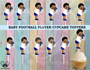 Baby Prince Football Cupcake Toppers Die Cuts