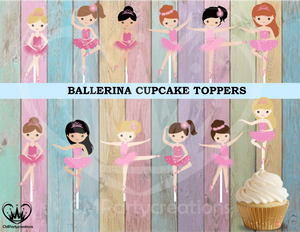 Ballerina Birthday Party Cupcake Toppers Die Cuts