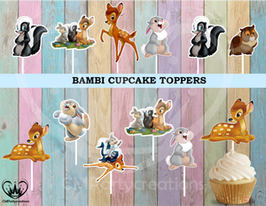 Bambi Birthday Baby Shower Party Cupcake Toppers Die Cuts