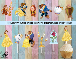 Beauty and the Beast Party Cupcake Toppers Die Cuts