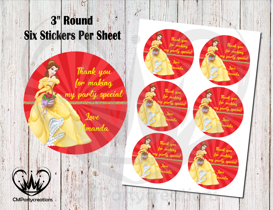 "Belle Beauty and the Beast 3"" Round Thank You Stickers"