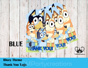 Bluey Cartoon Thank You Tags