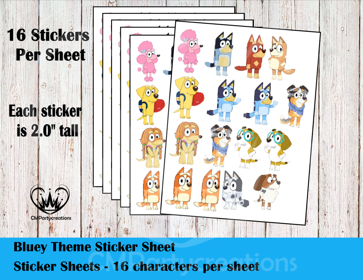 Bluey Cartoon Sticker Labels