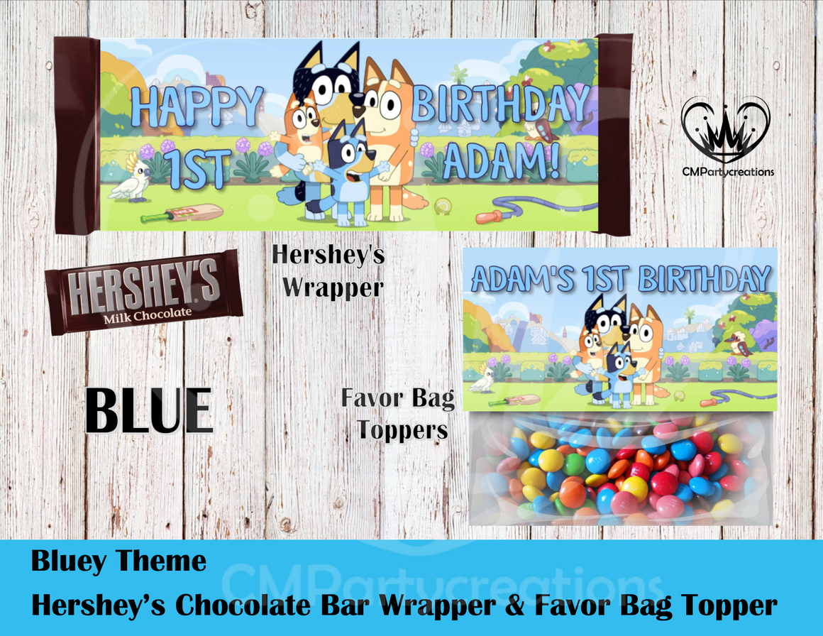 Bluey Hershey's Wrapper and Favor Bag Toppers