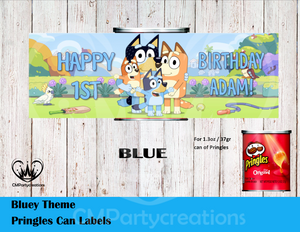 Bluey Cartoon Pringles Can or Lid Labels