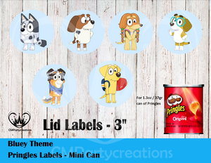 Bluey Cartoon Pringles Can and Lid Labels