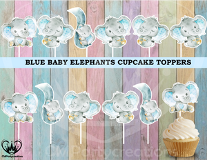 Baby Elephant Blue Cupcake Toppers