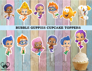 Bubble Guppies Birthday Party Cupcake Toppers Die Cuts
