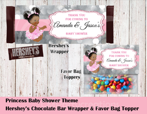 Princess Baby Shower Hershey's Wrapper and Favor Bag Toppers