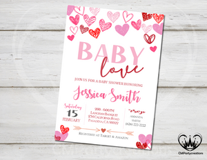 Baby Love Valentines Baby Shower Invitation