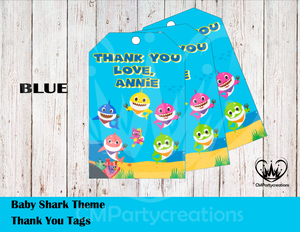Baby Shark Personalized Thank You Tags