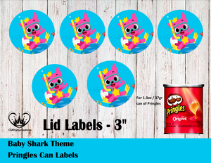 Baby Shark Pringles Can Lid Labels