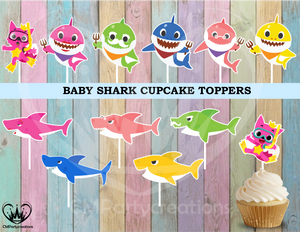 Baby Shark Birthday Cupcake Toppers Die Cuts
