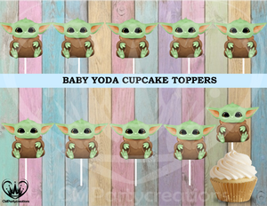 Baby Yoda Boy Birthday Cupcake Toppers