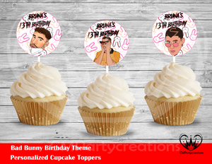 Bad Bunny Round Cupcake Toppers