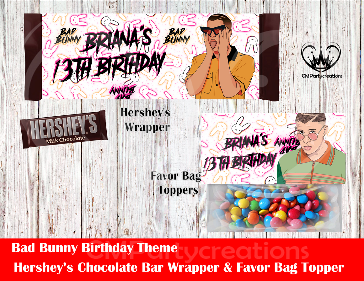 Bad Bunny Hershey's Wrapper and Favor Bag Toppers