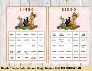 Bambi Bingo Game 25 Cards