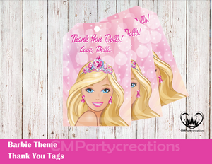 Barbie Thank You Tags