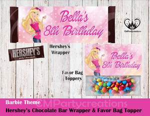 Barbie Hershey's Wrapper and Favor Bag Toppers