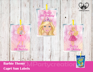 Barbie Capri Sun Labels
