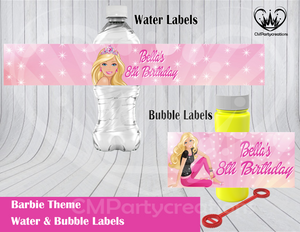 Barbie Water & Bubble Labels