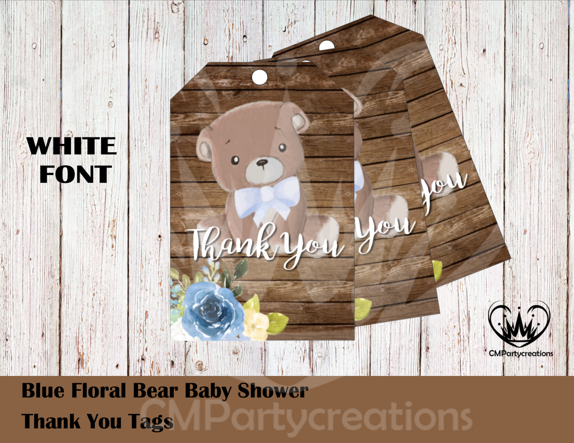 Teddy Bear Floral Blue Baby Shower Personalized Thank You Tags