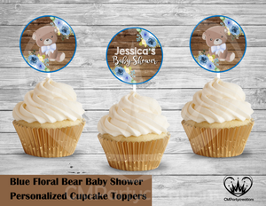 Teddy Bear Floral Blue Baby Shower Round Cupcake Toppers