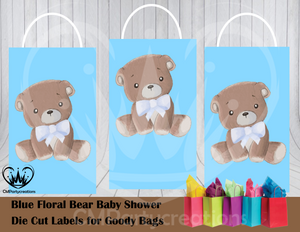 Teddy Bear Floral Blue Baby Shower Die Cut Goody Bag Labels