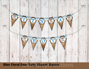 Teddy Bear Floral Blue Baby Shower Banner