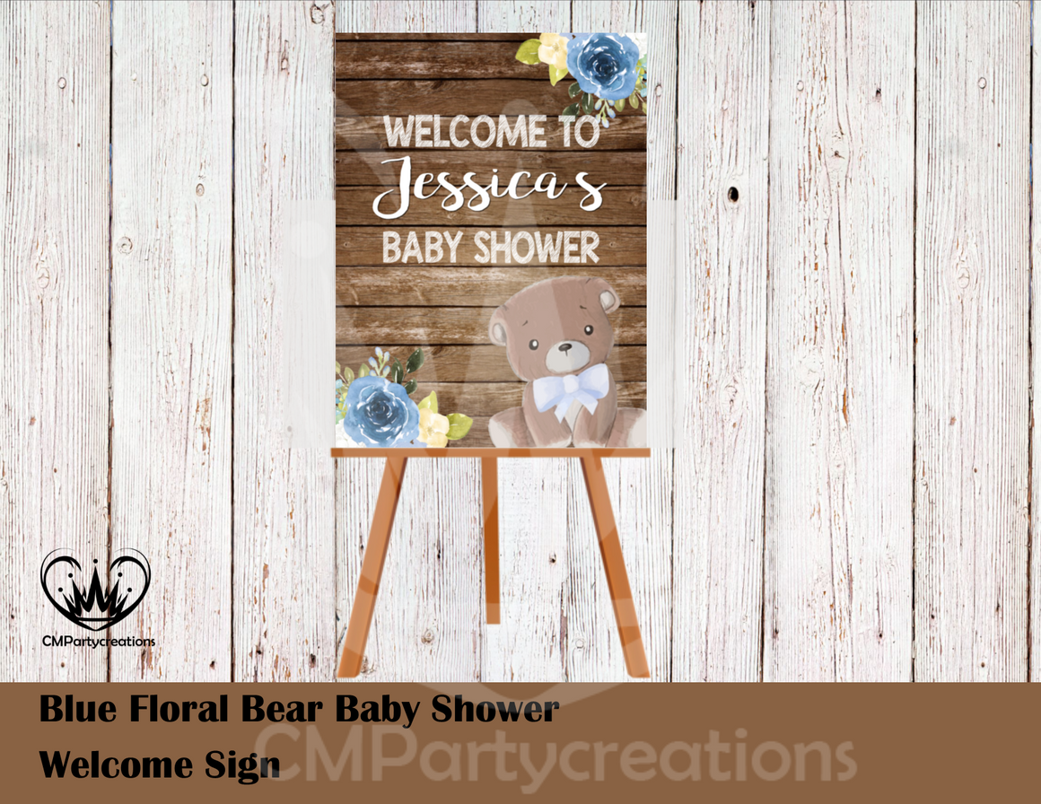Teddy Bear Floral Blue Baby Shower Poster Sign Welcome