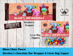 Blues Clues New Hershey's Wrapper and Favor Bag Toppers