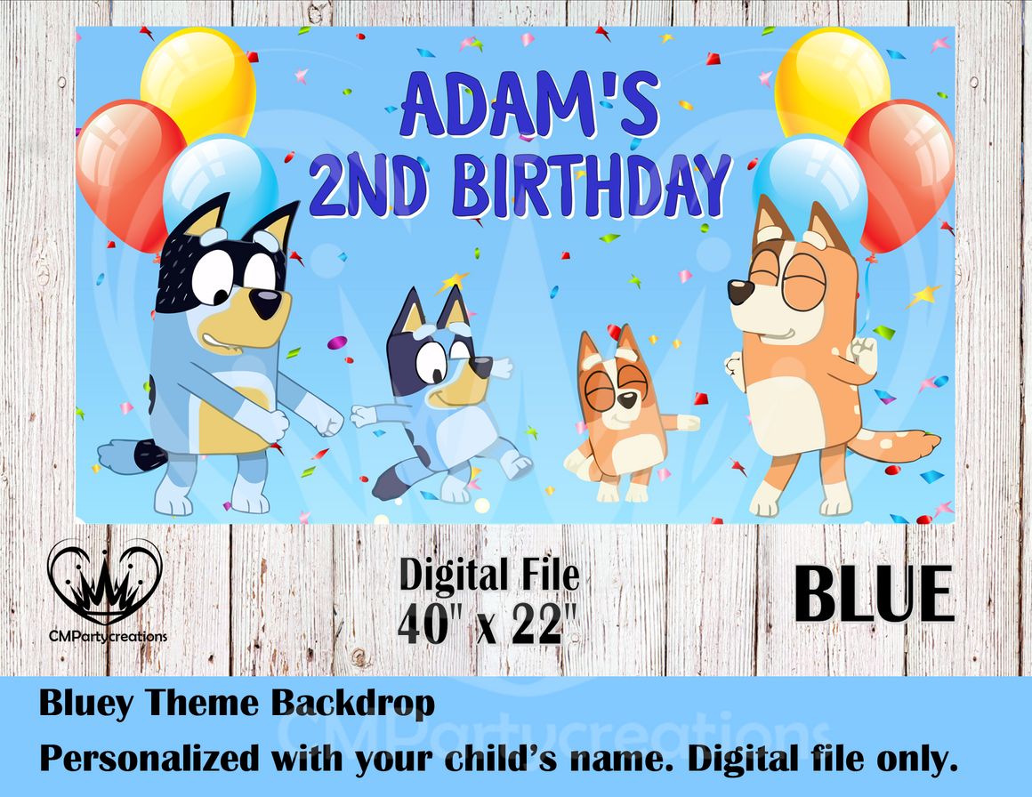 Bluey The Dog Personalized Backdrop **IMAGE ONLY***