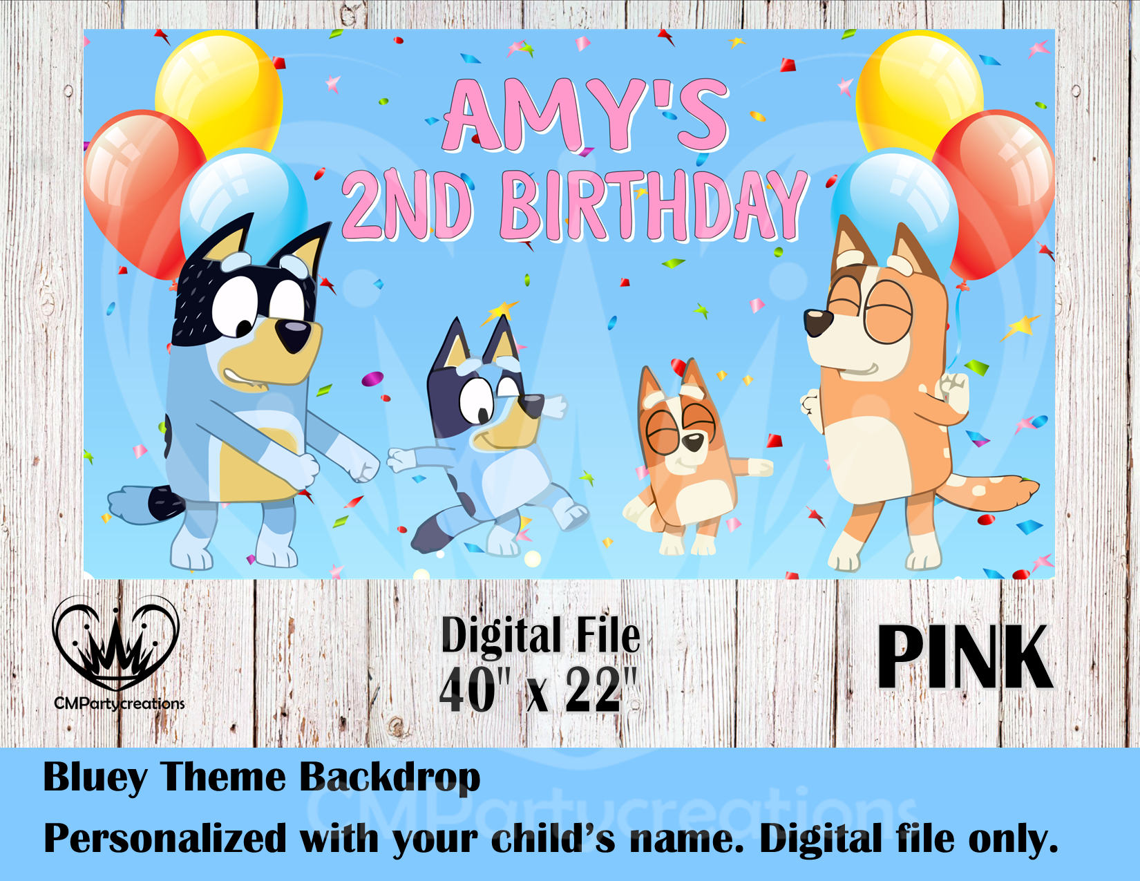 BLUEY BLUE HEELER PUPPY PERSONALISED BIRTHDAY PARTY BANNER BACKDROP BACKGROUND
