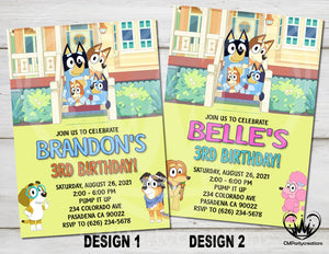 Bluey Invitation Birthday House Party