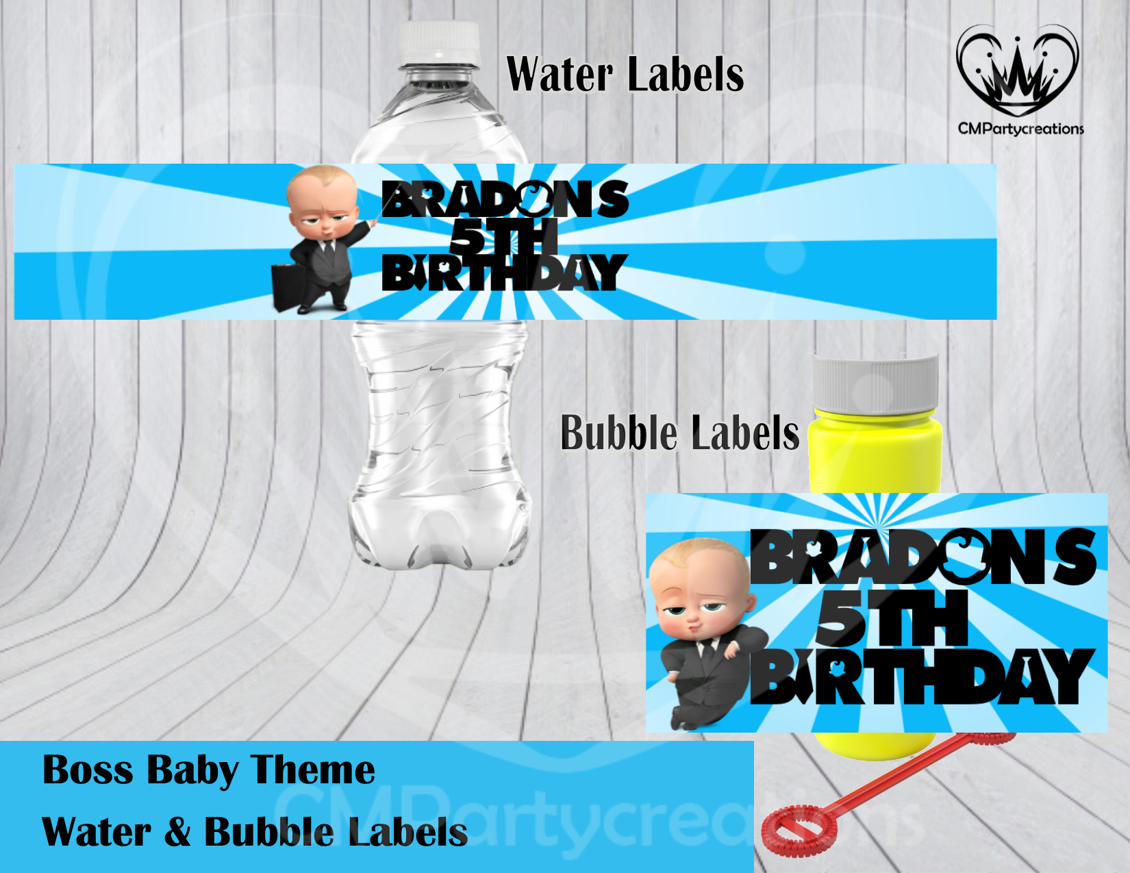 Boss Baby Water Bubble Labels