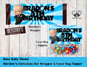 Boss Baby Hershey's Wrapper and Favor Bag Toppers