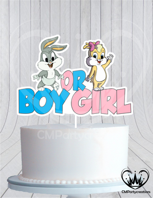 Bugs and Lola Gender Reveal Birthday Cake Topper