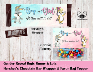 Bugs and Lola Gender Reveal Hershey's Wrapper and Favor Bag Toppers
