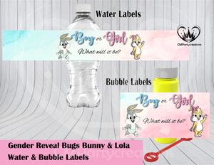 Bugs and Lola Gender Reveal Water & Bubble Labels